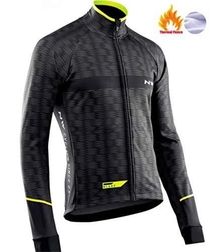 AJSJ Northwave Chaud 2019 Hiver Polaire Thermique Vêtements De Cyclisme Nw Costume pour Hommes en Plein Air Équitation Vélo VTT Vêtements Bavoir Pantalon Ensemble, Pic Couleur, 3XL