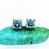 Blue Round Cut Moissanite Diamond Earrings, Studs, 0.5carat, 925 Sterling Silver
