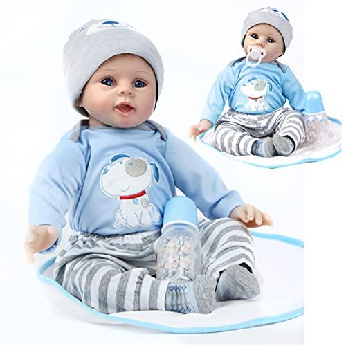 ZIYIUI Realista Bebe Reborn 22 Pulgadas 55 cm muneca Reborn Reales Silicona Muñecas Reborn Vinilo Silicona Suave Bebes Muñecos Hechos a Mano Juguetes de Regalo Navideño para Niños