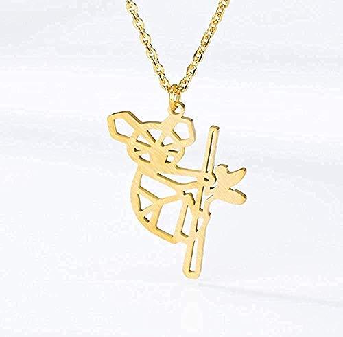 WYDSFWL Necklace Animal Charm Tattoo Choker Stainless Steel Chain Australian Koala Bear Pendants Necklace for Women Fashion Jewelry Necklace