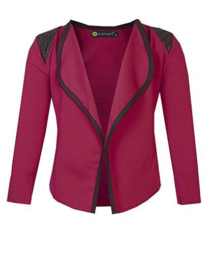 LOTMART Girls Blazer Jacket with Shoulder Detail in Red 7-8 Years