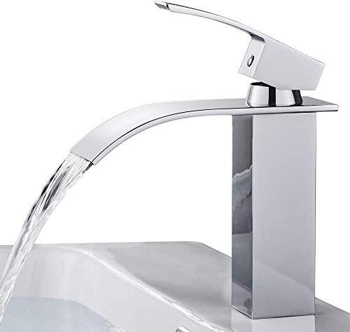 ASFDS Grifo de Lavabo con Mezclador de baño en Cascada LED RGB con 3 Cambios de Color Grifo de Cascada de Vidrio en latón Cromado-Grifo Cascada