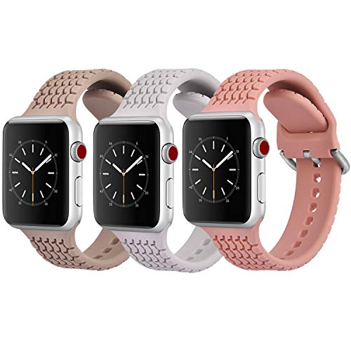CAGOS Compatible with Apple Watch Bands 38mm 40mm Women Men, 3 Packs Sport Loop Waterproof Silicone Replacement Straps Wristband for iWatch Series 5/Series 4/3/2/1 (Walnut/Light Gray/Pink, 38mm/40mm)
