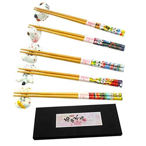 Juego de palillos y palillos de la suerte, bonito soporte para 5 gatos, estilo japonés clásico de bambú natural, reutilizable, juego de regalo de 5 pares (Plutus)