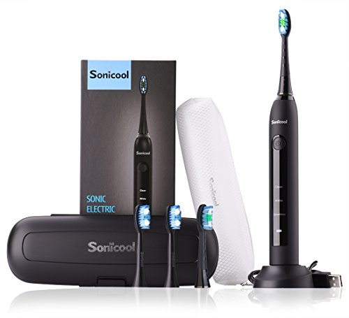 Sonicool Sonic Electric Toothbrush 48000 Vibrations Deep Clean As Dentist Rechargeable Toothbrush 2 Minutes Timer 3 Brushing Modes 4 Replacement Heads (Black Electric Toothbrush)