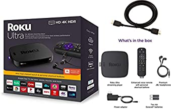 Newest Roku Ultra Streaming Media Player 4K/HD/HDR Bundle   Premium JBL Headphones   Enhanced Voice Remote with TV Controls and Shortcuts   HDMI, Ethernet, and Micro SD Ports   High-Speed 4K HDMI Cabl