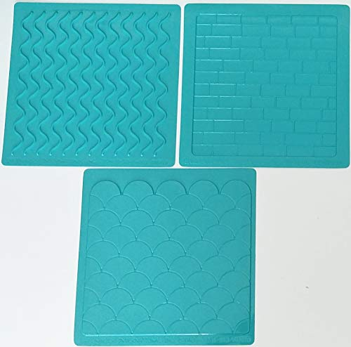 Pack Set of Plastic Textured Rubbing Plates - Create Designs and Patterns Art DIY Crafting Drawing Painting - Mermaid Scales Brick Wall and Zigzag