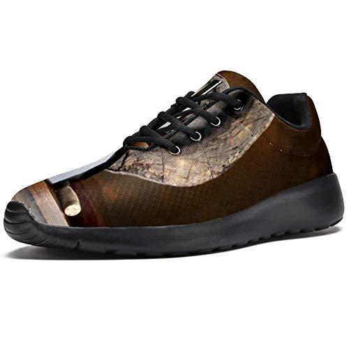 TIZORAX Zapatillas de correr para hombres Vintage Barril Rojo Vino Cristal Moda Zapatillas de deporte Malla Transpirable Caminar Senderismo Tenis Zapatos, color Multicolor, talla 45 EU