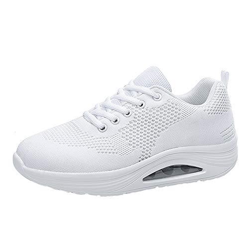 Zapatillas Deportivas para Mujer, Zapatillas Transpirables con Cordones Zapatillas Deportivas Planas de Malla Suave para señora Zapatillas Antideslizantes con colchón de Aire