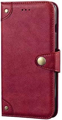 """Golden Sheeps Drop Protection Flip Case for BLU G9 Pro -6.3""""/BLU Vivo XII -6.3"""" Metal Buckle Leather Wallet Pouch Cover Case Card Holder with a Viewing Stand(Red)"""