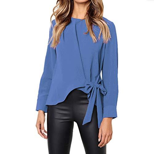 Camisas Mujer, BBestseller 2018 Nuevo Blusas para Mujer Vaquera Sexy Gasa Tops Camisetas Mujer Cremallera Manga Corta Blusas Fiesta Camisetas Pulóver Ropa cálida Mujer (M, Azul)