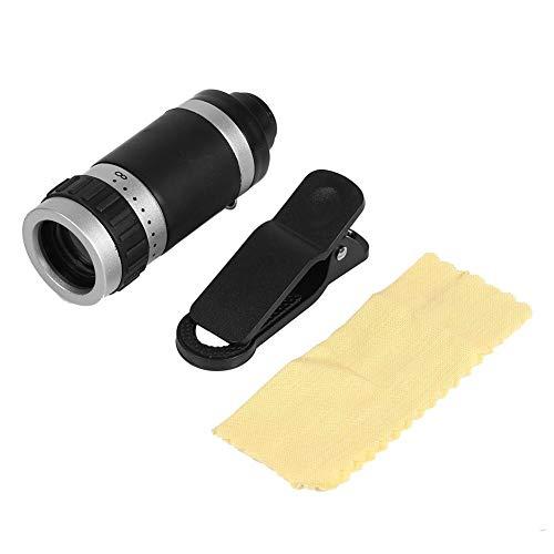 8X telescopio de teléfono móvil, Zoom telescopio monocular Lente de cámara Clip óptico Universal teleobjetivo con paño de Limpieza, Clip para teléfono móvil