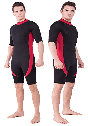 DEHAI Men Women's Thermal Wetsuits Full Suit Sleeves 3mm Neoprene Youth Adult's Diving Swimming Snorkeling Surfing Scuba Jumpsuit Warm Swimwear (3mm Shorty Men Wetsuit - Red, L)