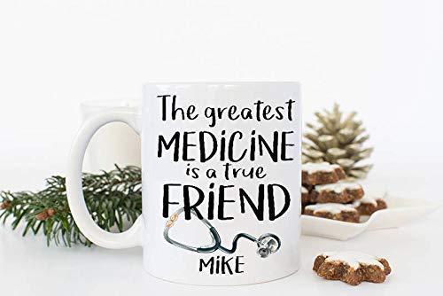 N\A Regalo de Enfermera de la Escuela Personalizada Taza de médico Personalizada Estetoscopio Regalo de cumpleaños para un Amigo Regalo de Estudiante de Medicina Regalo médico Taza de BFF