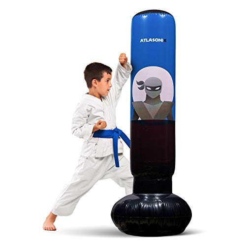 """Inflatable Kids Punching Bag – Free Standing Ninja Boxing Bag for Immediate Bounce-Back for Practicing Karate, Taekwondo, MMA and to Relieve Pent Up Energy in Kids and Adults/Tall 5' 3"""" (Blue)"""