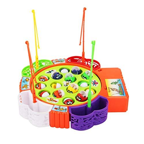 Hbao Juguete de Pesca Giratorio Musical eléctrico, Tablero para niños, Juego de Peces, pez magnético, Deportes al Aire Libre, Juguetes educativos para niños y niñas (Size : 15 Fishes)
