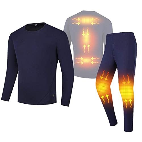 SFSGH Conjuntos de Ropa Interior térmica para Hombres, frío Extremo, USB, con batería, calefacción, Chaqueta de Motocicleta, Pantalones Largos de Moto, Traje eléctrico