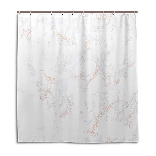 N\A Reiseduschvorhang Weißer Marmor Textur Roségold Patina Vorhänge Badezimmerfenster Maschinenwaschbar wasserdichte Badezimmervorhänge