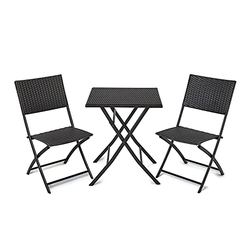 IWMH Conjunto Muebles de Jardín, Muebles de Exterior Plegables, Juego de Patio de Restaurante, Juego de Muebles de Patio, Una Mesa y Dos Sillas, Ratán PE Impermeable