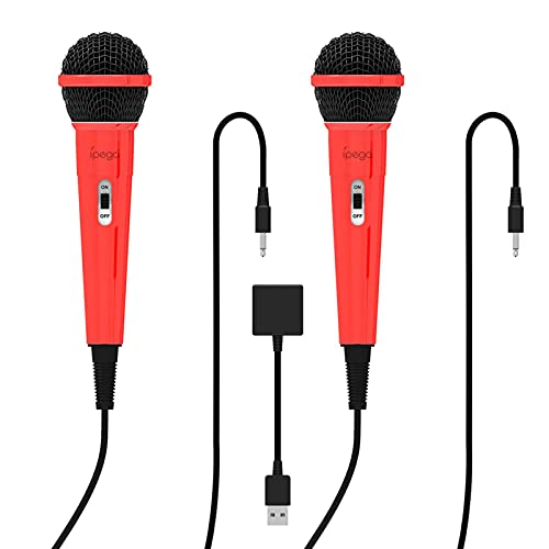 A/A Gaming Double Wired Microphone with Switch Ps5/xboxone/pc Gaming Microphone for Karaoke Singing, Speech, Wedding and Outdoor Activity