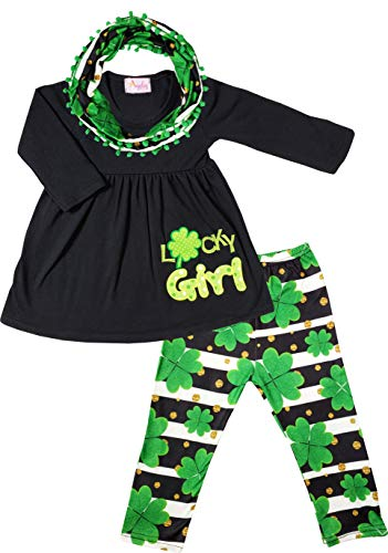 Boutique Little Girls St Patricks Day Lucky Girl Top Leggings Scarf Outfit 3-Piece Set Black/Green 8/4XL