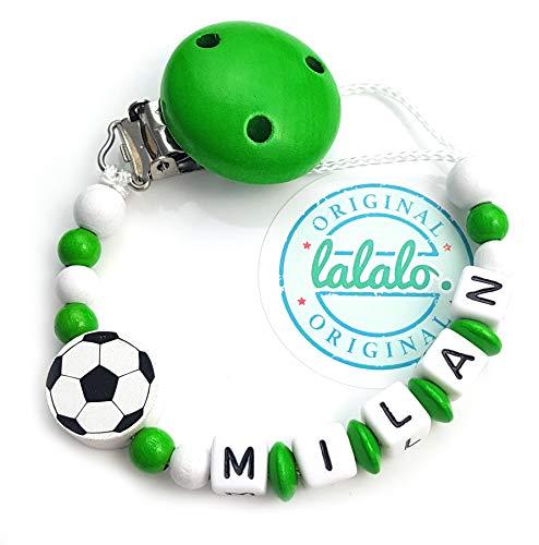 LALALO Schnullerkette Fußball mit Namen, Junge, Baby Fussball Motiv aus Holz, Handmade Individuelle Jungs Namenskette zur Geburt, Geburtstag, Weihnachten, Taufe (Grün/Weiß)
