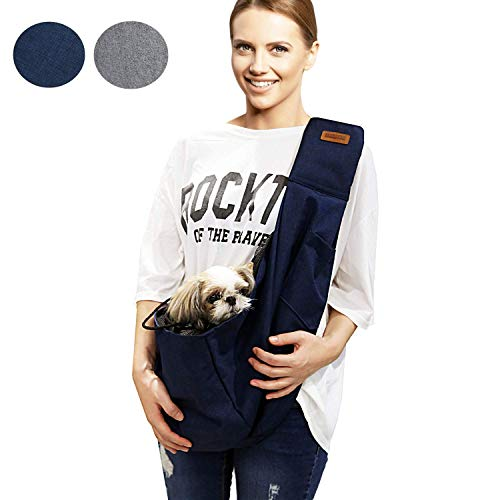 RETRO PUG Pet Sling Carrier Bag - Purse - Front Pack - Easy Shoulder Strap Adjustable - Comfortable - Various Pouch - Dog Carriers for Small - Medium Dogs and Cats - Safety Mesh Net - Up to 20~25 lbs