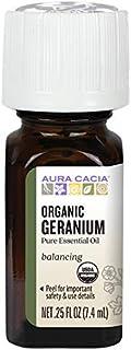 Aura Cacia 100% Pure Geranium Essential Oil | Certified Organic, GC/MS Tested for Purity | 7.4 ml (0.25 fl. oz.) | Pelargo...