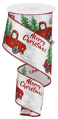 Christmas Vintage Truck Wired Edge Ribbon - 2.5' x 10 Yards (White)