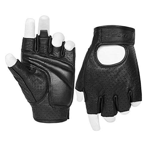 Half Finger Men's Motorcycle Gloves Gel Padded Fingerless Leather Motorbike Gloves (Black, X-Large)