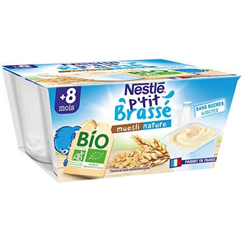 Nestlé Bébé P'tit Brassé BIO - Coupelle lactée Muesli Nature - Dès 8 mois 4x90g