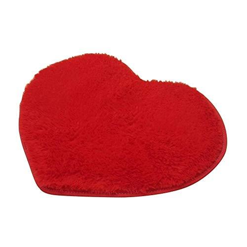 Gandwars 40x30cm mooi hartvormig absorberend tapijt antislip badmat vloertapijt Eén maat rood