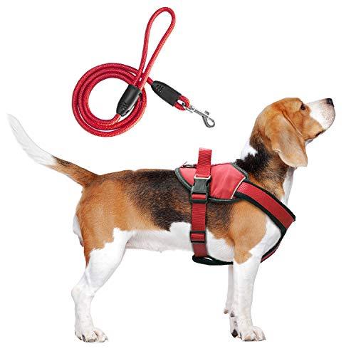 BRAVO HOME Arnés Pecho Antitirones para Perros, Arnés Pecho Antitirones con Correa Ajustable para Adiestramiento de Mascota para Perros Pequeños, Medianos y Grandes (XL, Rojo)