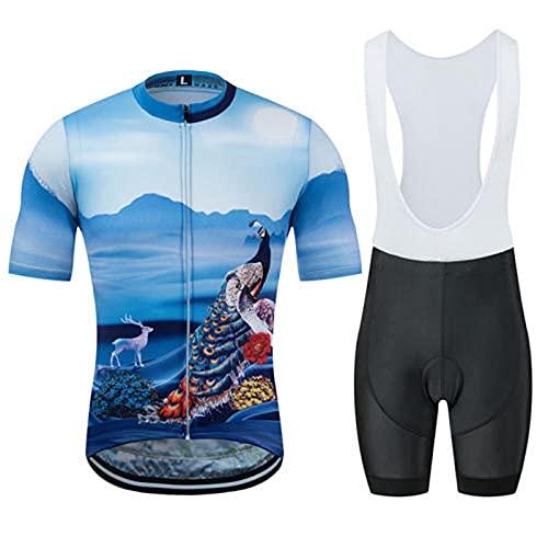 HXTSWGS Traje Equipacion Ciclismo Hombre,Camisa de Verano de Manga Corta Que Absorbe la Humedad, Traje de Montar con Pantalones Cortos con Tirantes-A_XS