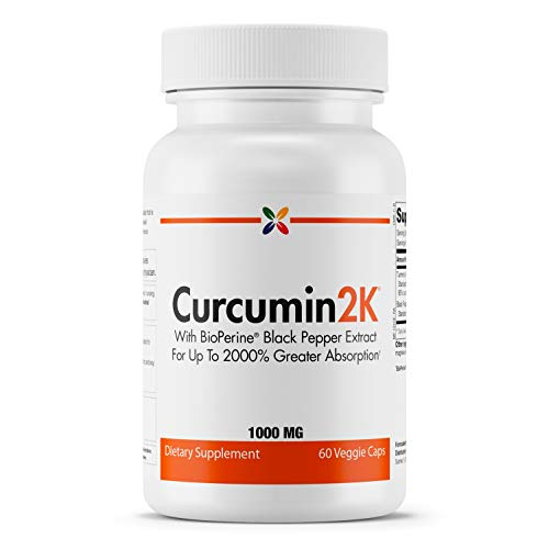 Stop Aging Now - Curcumin2K Formula with BioPerine Black Pepper Extract for Up to 2000% Greater Absorption - 60 Veggie Caps