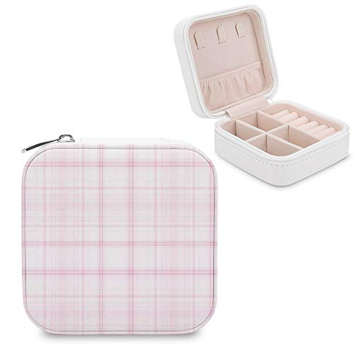 Small Jewellery Box, Mini Size Travel Jewelry Storage Case with Faux PU Lidded Light Weight, Rings,Earring,Necklace Organiser with Various Compartments/Tartan Textile Pink Magenta Tints and Shades