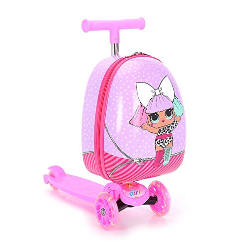 Hokaime Equipaje de Scooter para niños Cute Cabin Trolley Trunk Lazy Suitcase for Baby, Leopard...