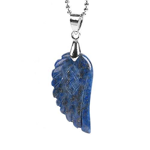 TFOOD edelstenen halsketting voor dames, 7 chakra lapis lazuli, natuurlijke engelenvleugelhanger van zilver, energie, weegschaal voor Moederdag en heren, cadeau