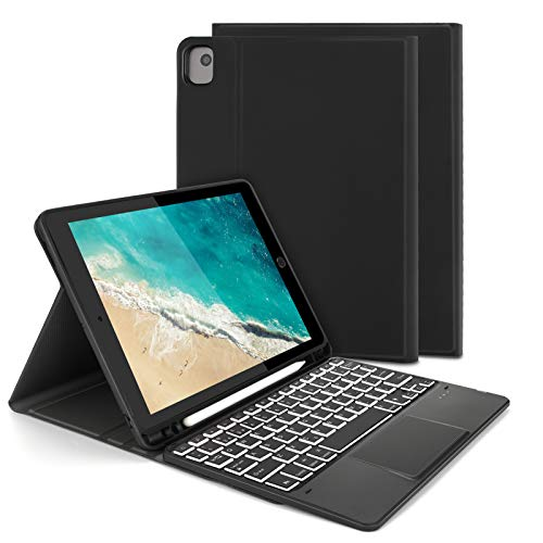 Keyboard Case with Touchpad Mouse for iPad 10.2 2019 / iPad Air 3 / iPad Pro 10.5, Jelly Comb Bluetooth Backlit Keyboard QWERY UK Layout with Stand Cover & Trackpad, Black