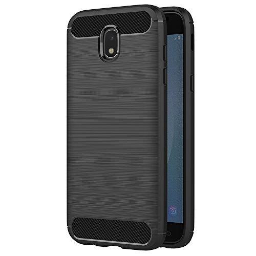 AICEK Samsung Galaxy J7 2017 Hülle, Schwarz Silikon Handyhülle für Samsung J7 2017 Schutzhülle Karbon Optik Soft Case (5,48 Zoll SM-J730F)