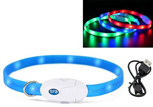 BPS Leuchthalsband, wiederaufladbar, USB, für Haustiere, Hunde, Katzen, wasserdicht, Sicherheitshalsband, helles Licht, 3 Farben, 2 Größen zur Auswahl