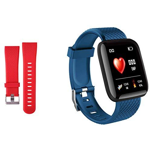 Smartwatch Fitness Armband Voll Touchscreen Wasserdicht, Unisex Smart Watch für Android IOS, Fitness Uhr mit Pulsmesser Schlafmonitor Stoppuhr Musiksteuerung,Sportuhr Aktivitätstracker (Blau rot)