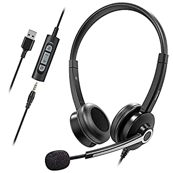 Nulaxy Computer Headset with Microphone,Business Wired Headset 3.5mm Jack Headphones with Noise Cancelling Microphone,Inline Control PC Headset for Skype Webinar Office Classroom Home