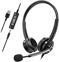 Nulaxy Computer Headset with Microphone,Business Wired Headset, 3.5mm Jack Headphones with Noise Cancelling Microphone,Inline Control, PC Headset for Skype, Webinar, Office, Classroom, Home