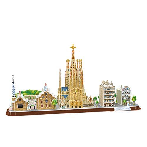 World Brands- City Line Barcellona, Puzzle per Adulti e Bambini, Modello 3D, Regali Divertenti, Cultura, Viaggio da casa, Multicolore, MC256H
