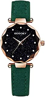 Fashion Leather Strap Watches Rectangle Dial Drill Simple Scrub Soft Belt Watch(Black) (Color : Green)