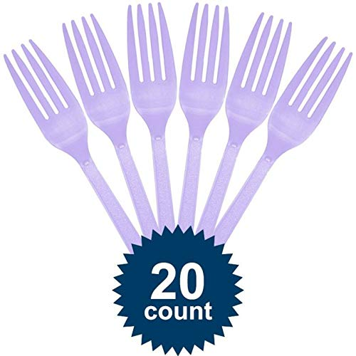 Great Deal! amscan Lavender Plastic Forks - Party Supplies