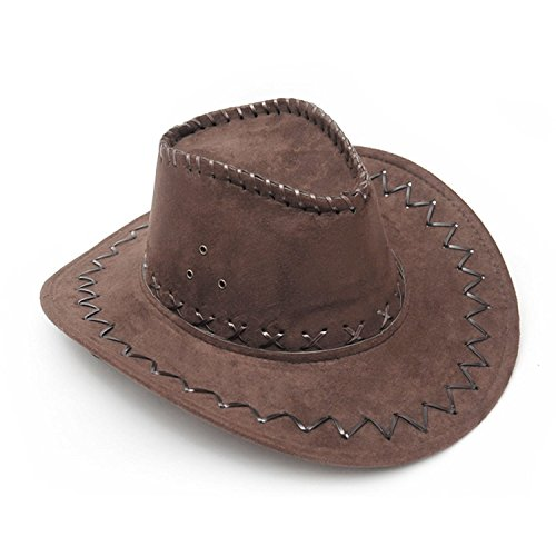 Brim/Visor Size: 7cm / 2 3/4 inches Fit Head Girth: 58-61cm / 22 3/4 - 24inches Depth: 10cm/3.94 inches; Net Weight: 90g A perfect way to complete your cowboy fancy dress costume¡£Also great for halloween, fancy dress and role play Suede outer with a...