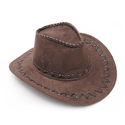 NYKKOLA Western Authentieke Gunslinger Hoed Suede Cowboy Hoed Unisex Donkere koffie