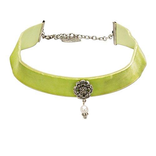 Alpenflüstern Trachten-Samt-Kropfband Frida mit Ornament und Perle Trachtenkette enganliegend, Kropfkette elastisch, Damen-Trachtenschmuck, Samtkropfband breit hell-grün DHK168